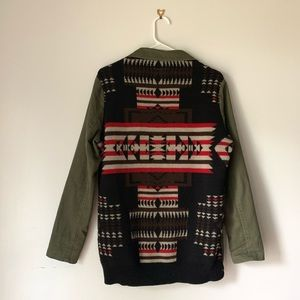 Thread & Supply Olive Utility Jacket Aztec Knit